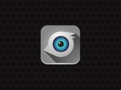 Emu emu bird eye icon iphone grey