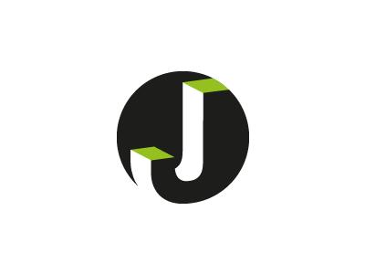 Jot j letter circle blacj green