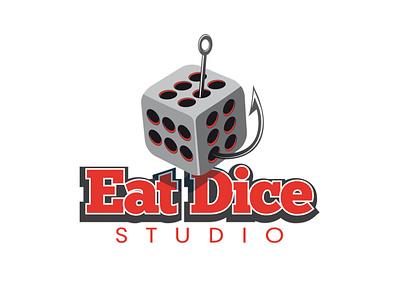 logo eat dice concept black branding design clipart abstract white illustration logo art vector
