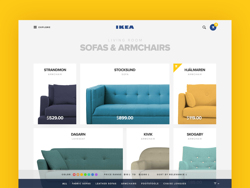 Category Page for IKEA category minimal store ecommerce shop flat clean material web ux ui ikea