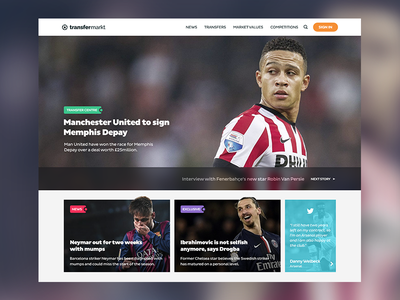 Transfermarkt Redesign homepage soccer design home redesign football concept web ux ui