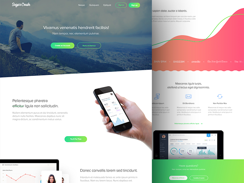 Landing Page flat layout template colorful home landing page ux ui website landing