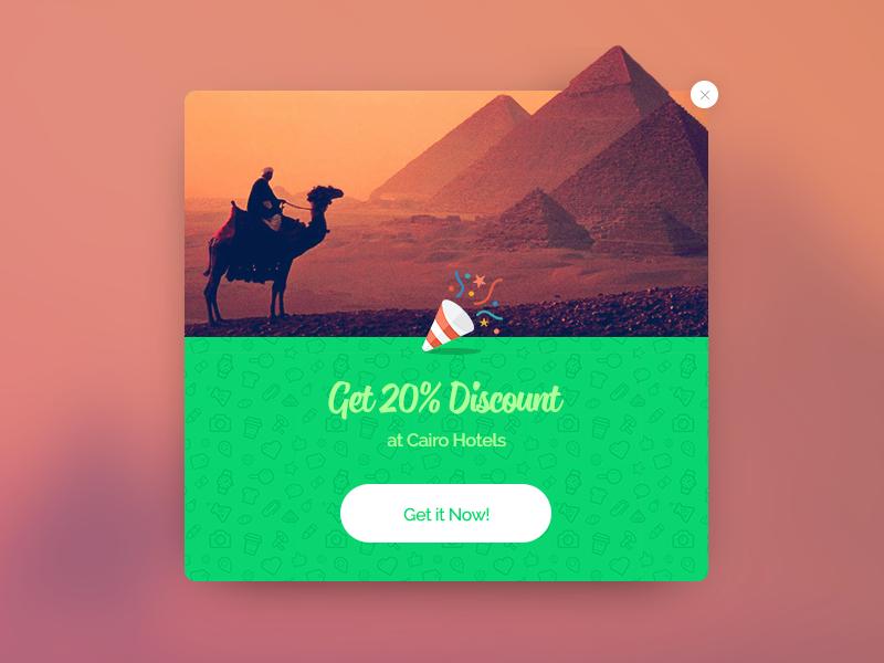 Popup website design minimal flat web app green concept ux ui lightbox popup