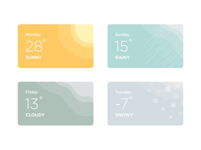 Some Weather Cards for New Project minimal simple material flat colorful web card application app weather ux ui