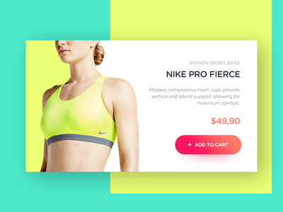 Product Card for Nike Pro Fierce shop checout flat cart add widget product concept nike card ux ui