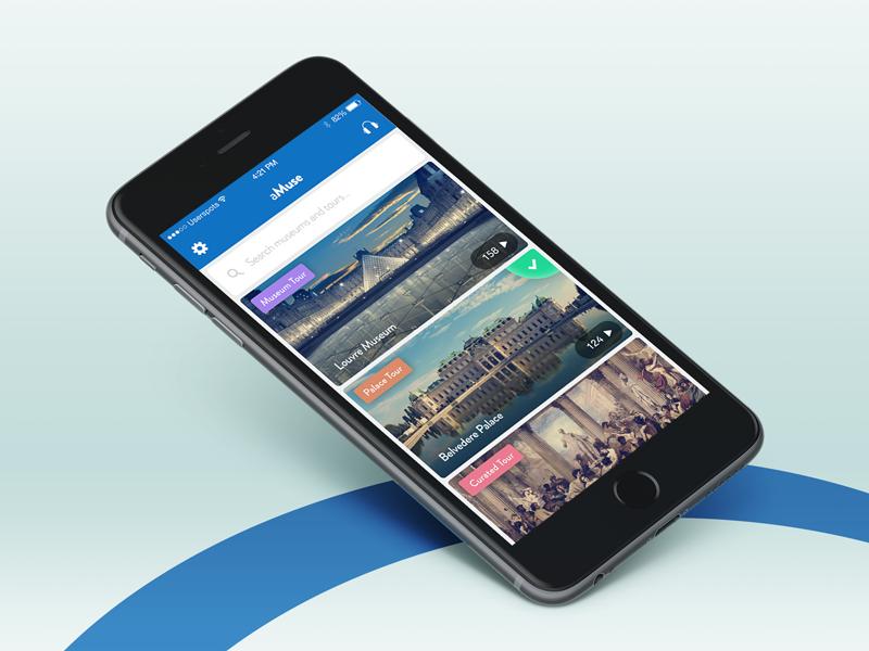 Museum & Tour Mobile App design android concept blue hybrid flat ios application app mobile ux ui