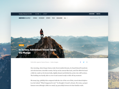 Article Page for a News Site Project simple minimal concept blue design flat material website travel news ux ui