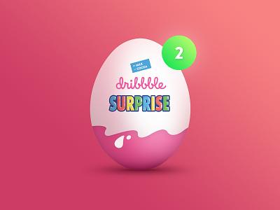 2x Dribbble Invite dribbble-invite invitation dribbble pink ux ui kinder-surprise surprise kinder egg draft invite