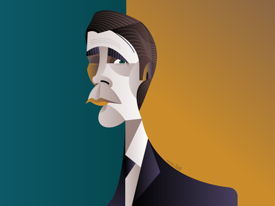 Christian Bale christian bale portrait geometric geometry dribbble illustrator design character illustration