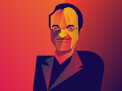 Quentin Tarantino director portrait geometry geometric dribbble design illustrator character illustration tarantino