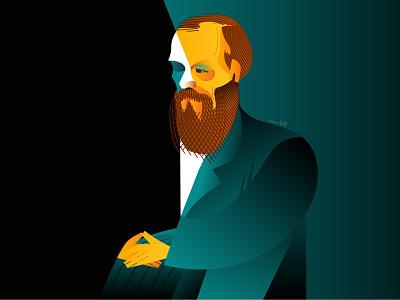 Fyodor Dostoevsky novelist writer dostoevsky dribbble design portrait geometry geometric character illustrator illustration fyodor dostoevsky