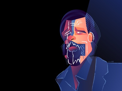 Brad Pitt Cubism Portrait vector coffee portrait geometry geometric dribbble design illustrator character illustration brad pitt