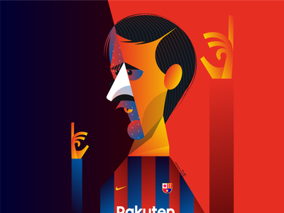 Leo Messi barca barcelona portrait geometry geometric dribbble design illustrator character illustration lionel messi leo messi messi