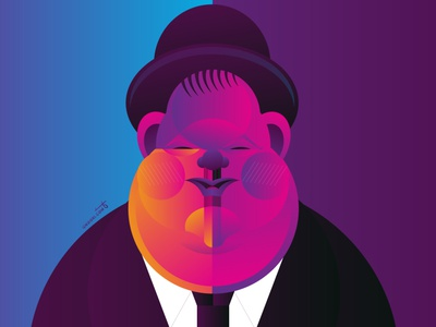 Oliver Hardy gradient cinema movie portrait geometry geometric dribbble design illustrator character illustration laurel and hardy oliver hardy