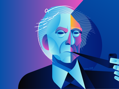 Bertrand Russell vector portrait geometry geometric dribbble design illustrator character illustration bertrand russell
