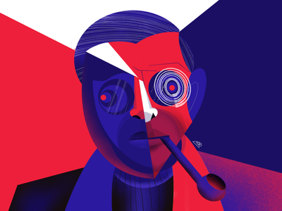 Jean-Paul Sartre cubism portrait procreate geometric illustration illustrates jean-paul sartre