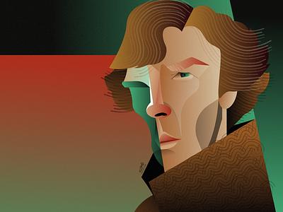 Benedict Cumberbatch illustration portraite geometriv. cubism portraitr cumberbatch