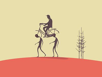 Bicycle illustration minimal human tree move slavery mental conceptual bicycle