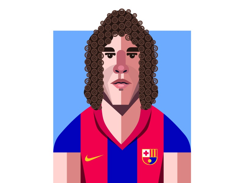 Carles Puyol dribbble hustle coffee geometic geometry carles puyol soccer football barcelona design illustrator character illustration