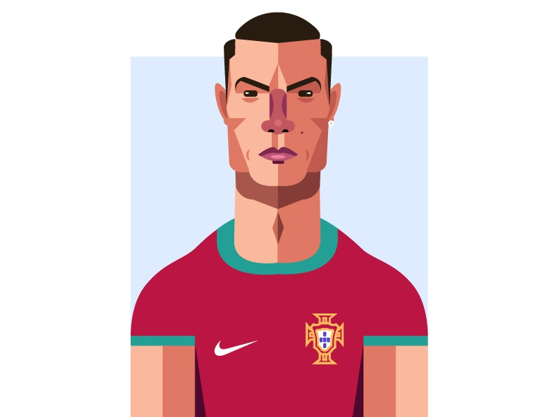Cristiano Ronaldo vector nike portugal ronaldo cristiano ronaldo realmadrid juventus geometric soccer geometry football dribbble design illustrator character illustration