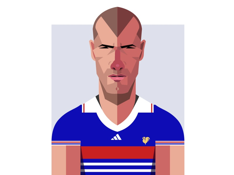 Zinedine Zidane rooster zinedine zidane real madrid france drawing portrait adidas geometric soccer geometry football dribbble design illustrator hustle coffee character illustration