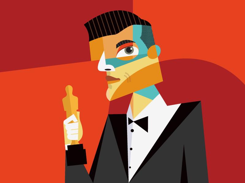 When Rami Malek Won The Oscar designs art malek rami cubism vector portrait geometric geometry dribbble design illustrator hustle coffee character illustration