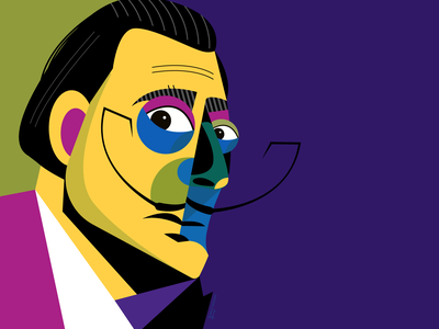 Salvador Dali salvador dali dali surrealist surrealism surreal portrait geometric geometry dribbble illustrator design character illustration