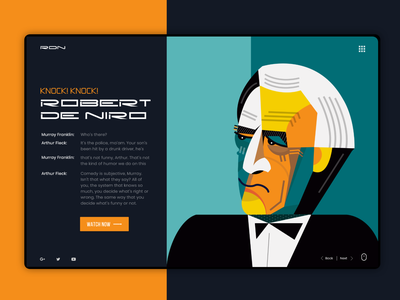 Robert De Niro Web Concept portrait website design userexperience userinterface ux webdesign website web geometric geometry dribbble ui illustration robert de niro