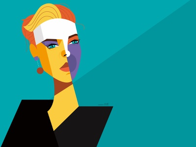 Scarlett Johansson dribbble scarlett johansson cubism vector portrait geometric geometry design character illustration illustrator actor