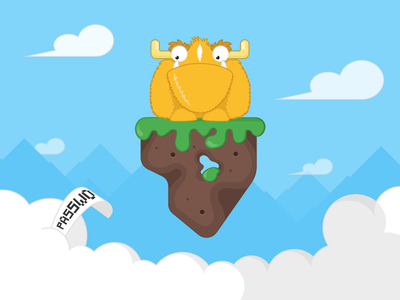 Can't find your password? forgot password flat design vector illustration clouds sky monster