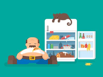 Gross! kitchen fridge illustration pizza man cat food vector flat