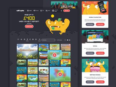 We are now live! web design ui design new site pixel illustration games character monster website ux ui casino