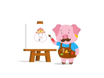 Pig-asso! piglet cute illustration vector oink pig artist picasso