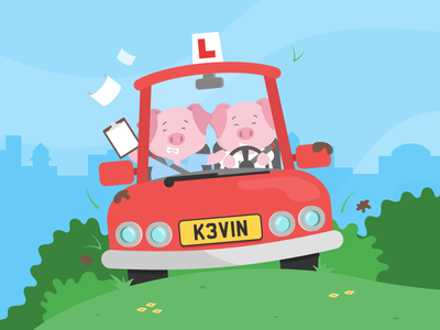 What's that coming over the hill? driving test flat design vector car driving learner piglet pig illustration