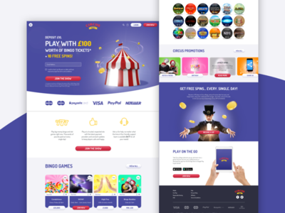 Circus Bingo Redesign responsive design gaming site ux design ui design circus tent wireframes slots casino bingo ringmaster circus