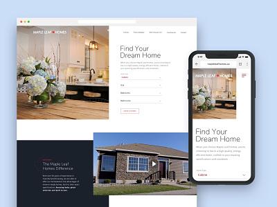 Maple Leaf Homes – Site Design real estate realty web design mobile responsive ui