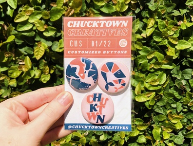 Charleston Themed Buttons home map rainbowrow buttondesign lettering typography illustration vector southcarolina lowcountry shrimp charleston buttonmaking packaging packagedesign buttons