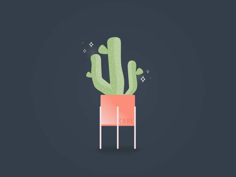 Carl the Cactus charleston pink green pots plants graphicdesign vector illustration prickly plant cactus