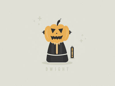 Dwight the Robot design vector typography illustration season spooky weeklywarmup robot halloween pumpkin schrute dwight the office