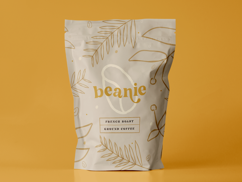 Beanie Coffee - Weekly Warmup fall vector weekly challenge yellow beaniefeldstein typography illustration plants watercolor packaging logo branding coffeebean coffeebag coffee weeklywarmup