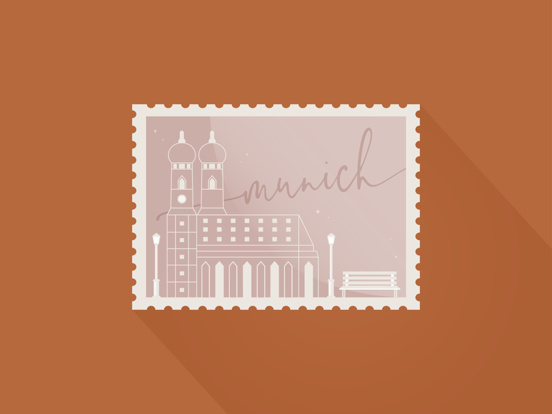 Weekly Warm-Up - Munich Stamps vector typography illustration swing church frauenkirche roses grandmother germany dribbbleweeklywarmup weeklywarmup stamps munich