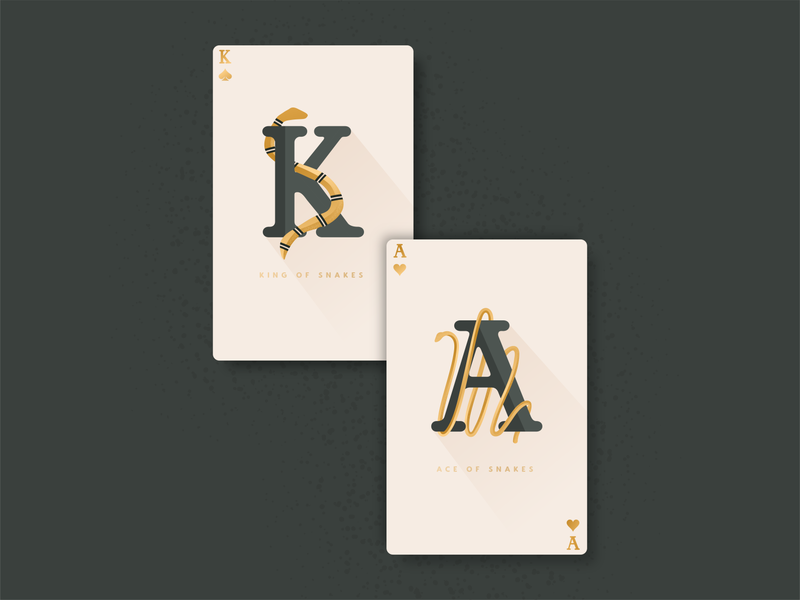 Snake Cards - Weekly Warmup design gold green stippling lettering typography illustration vector warmup dribbbleweeklywarmup ace king snakes card playingcards