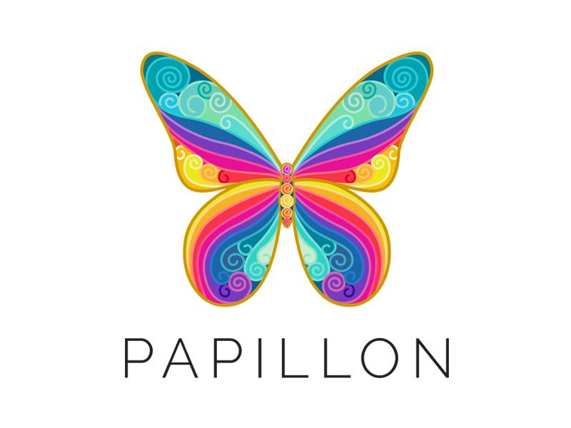 Papillon Logo blue green yellow gold pink nature beauty purple rainbow branding logo butterfly