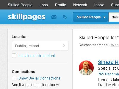 SkillPages New Navigation skillpages navigation alert icons social connections clean blue dropdown arrow menu checkbox bell envelope form