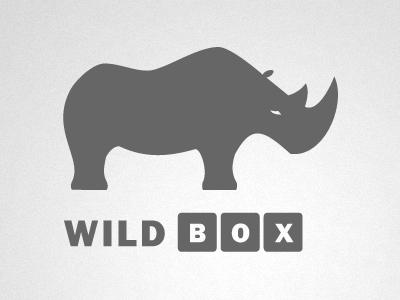 Wild Box wildlife clean logo wild box brand mark identity rhino rhinoceros brand mark branding logo design portfolio logo mark