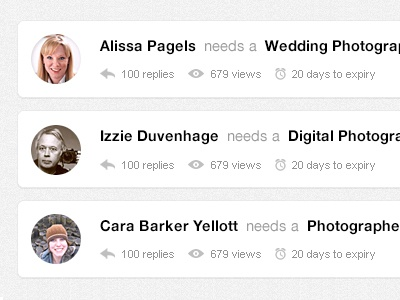 SkillPages Opportunity Listings skillpages skill pages interface design minimal circular profile photos icons icon reply icon view icon