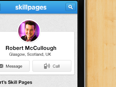 SkillPages Mobile texture wood blue call mobile skillpages circle message icons
