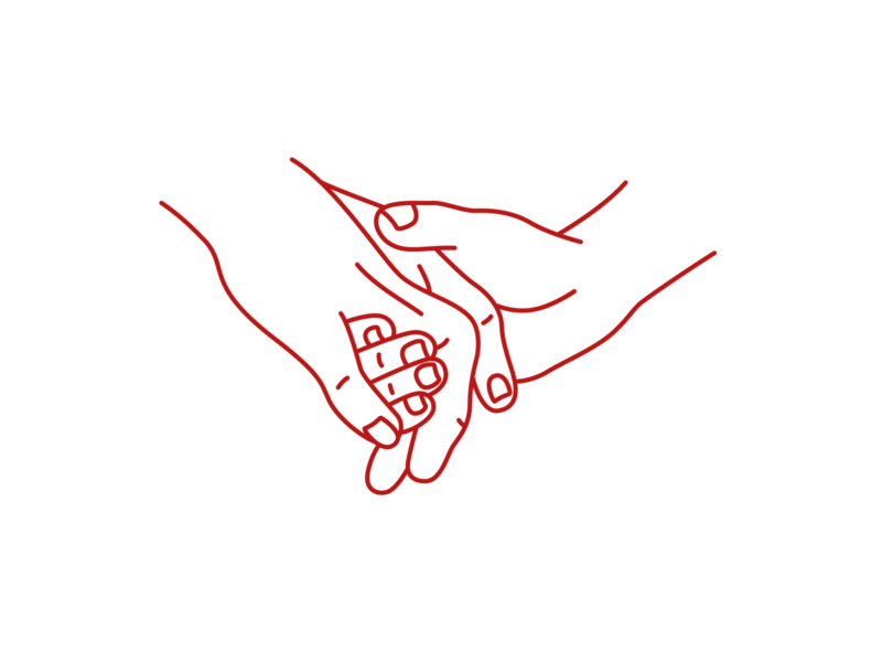 One Day at a Time holding hands design illustration red hands line art drawing
