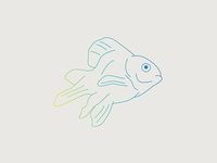 Dead Guy design green blue gradient drawing goldfish fish illustration line art graphic design
