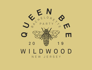 Queen Bee shirt apparel bachelorette typography yellow illustration bee